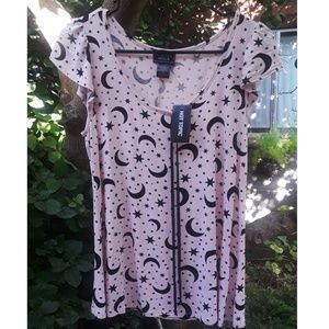pink moon and stars top size small NWT